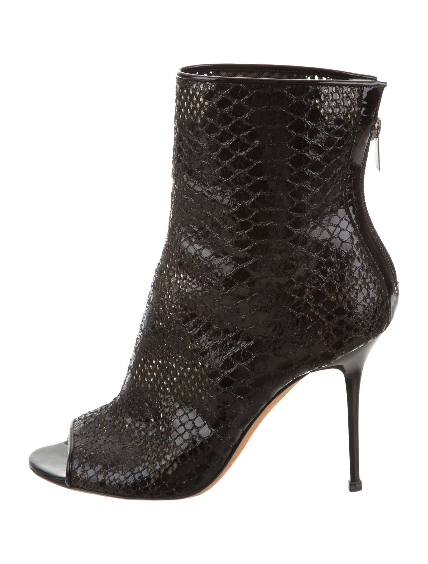 Jimmy Choo Snakeskin Peep Toe Ankle Boots Shoes Jim60782 The Realreal