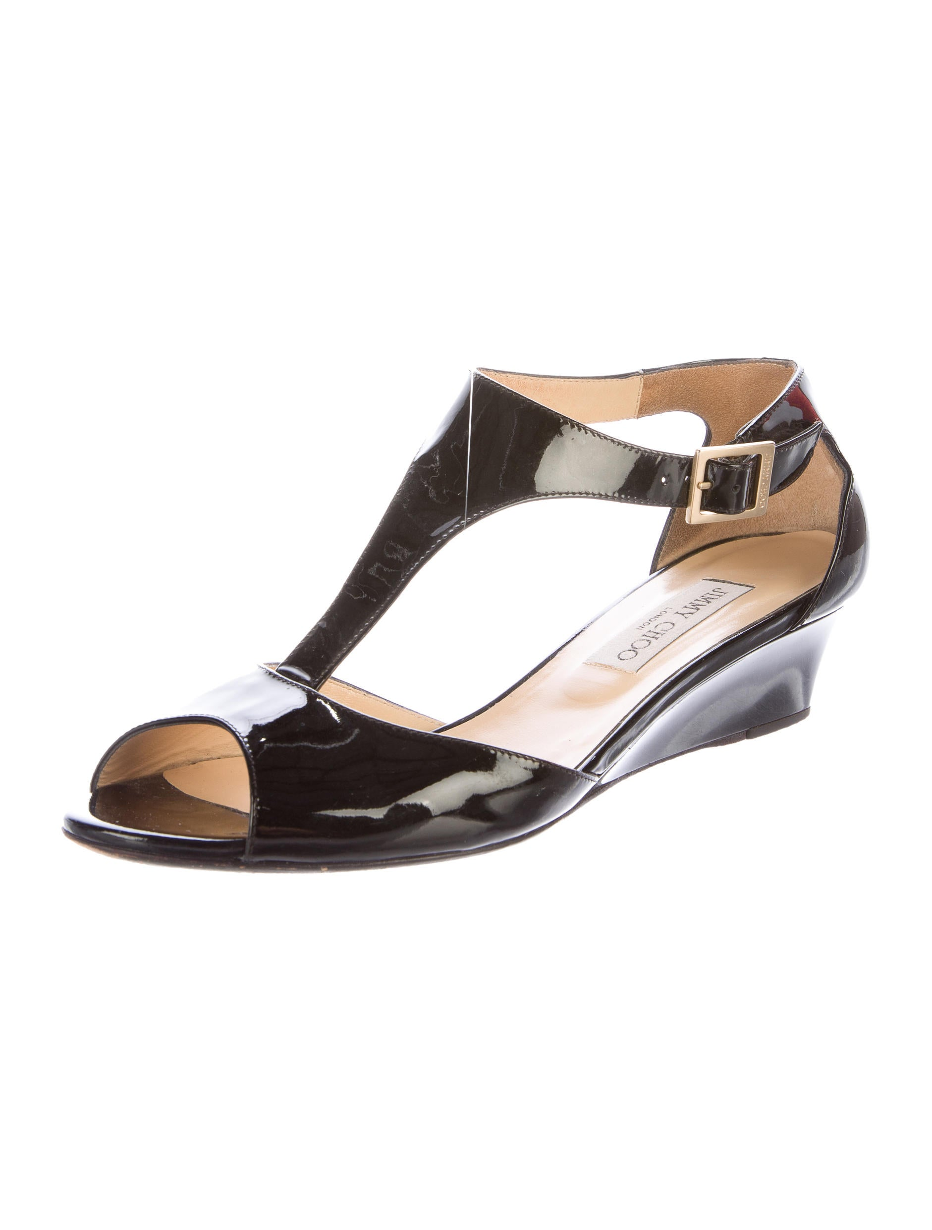 jimmy choo patent leather wedge sandals shoes jim62087