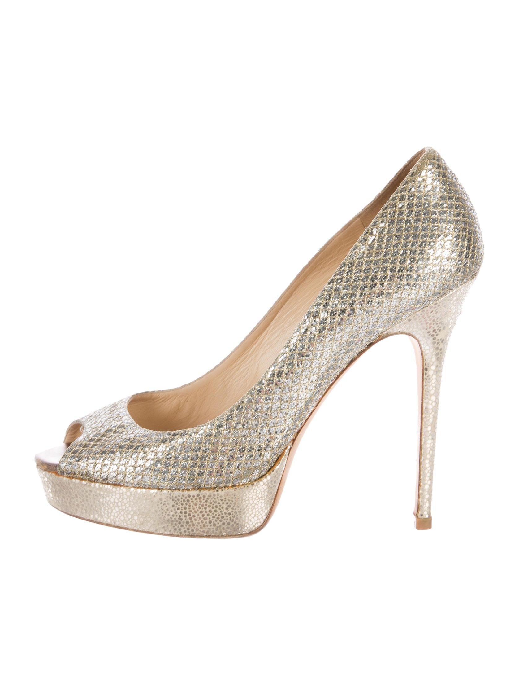 Jimmy Choo Glitter Platform Pumps Shoes Jim62149 The