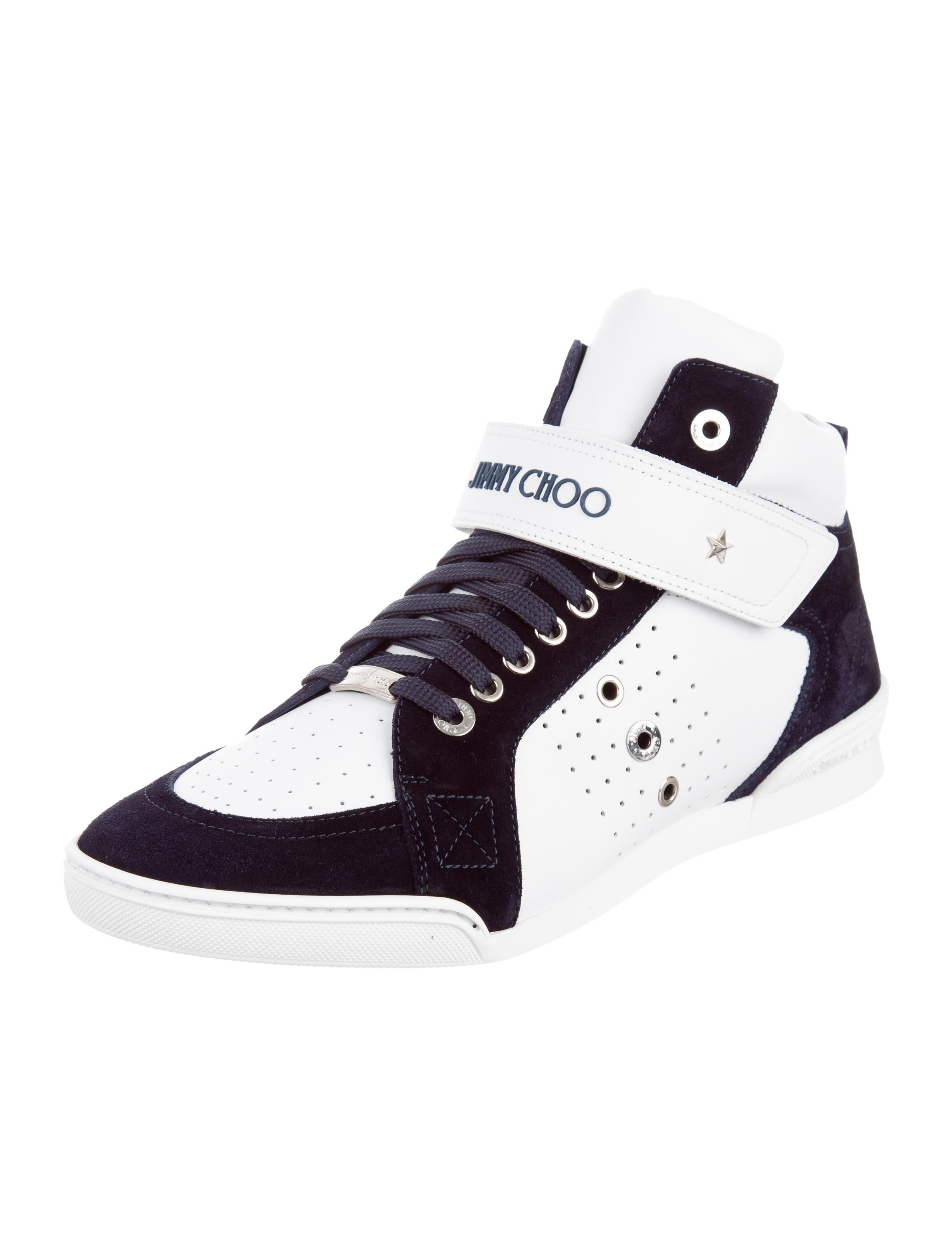 jimmy choo lewis leather sneakers w tags shoes jim63007 the realreal. Black Bedroom Furniture Sets. Home Design Ideas
