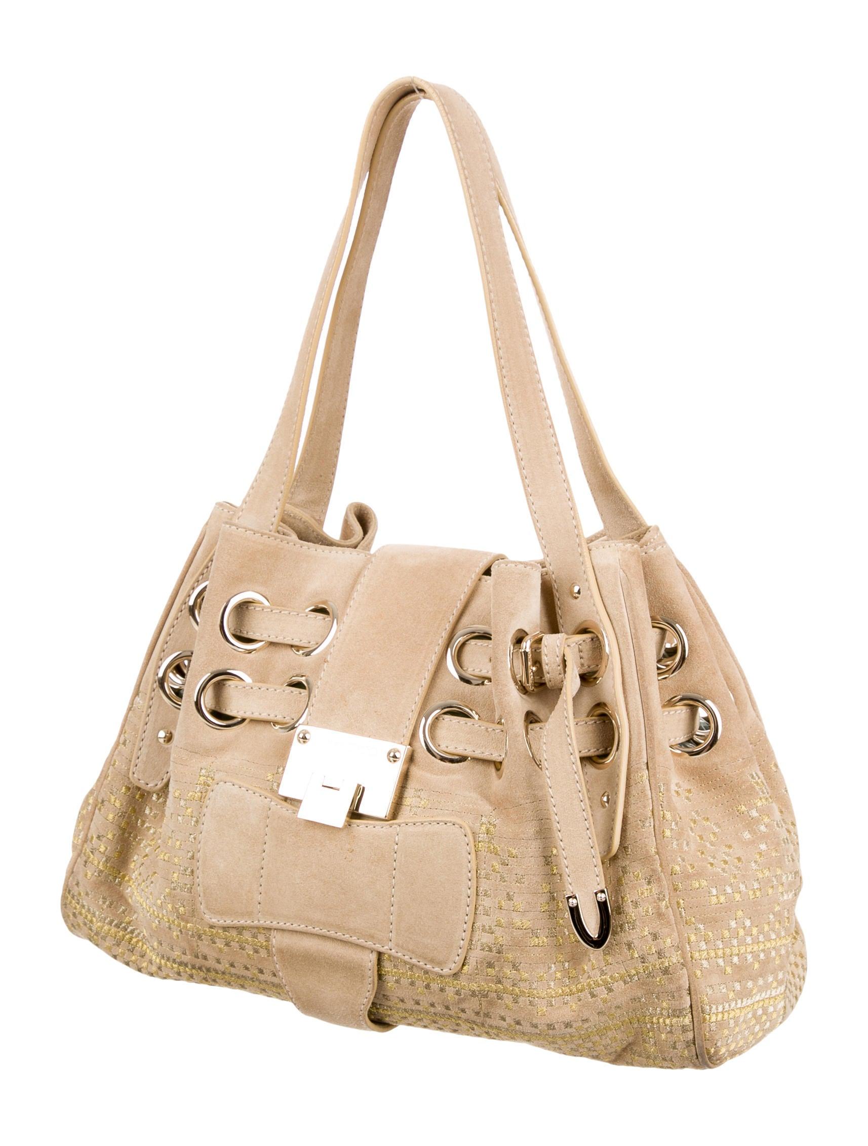 Jimmy Choo Embroidered Suede Riki Bag - Handbags - JIM63629 : The RealReal