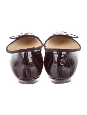 Jimmy choo buckle accented patent leather flats shoes for Artistic accents genuine silver decoration