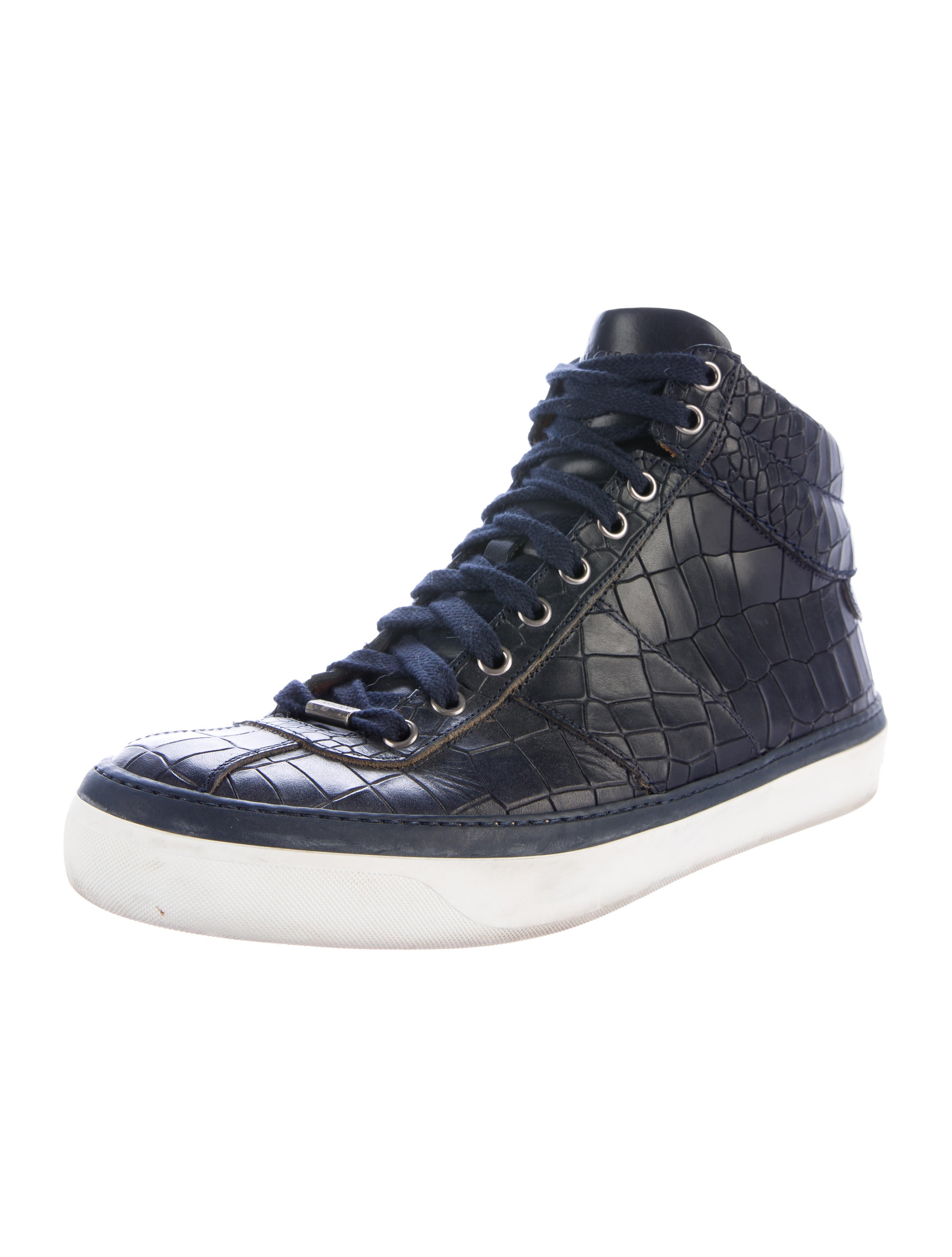 jimmy choo embossed high top sneakers shoes jim63821 the realreal. Black Bedroom Furniture Sets. Home Design Ideas