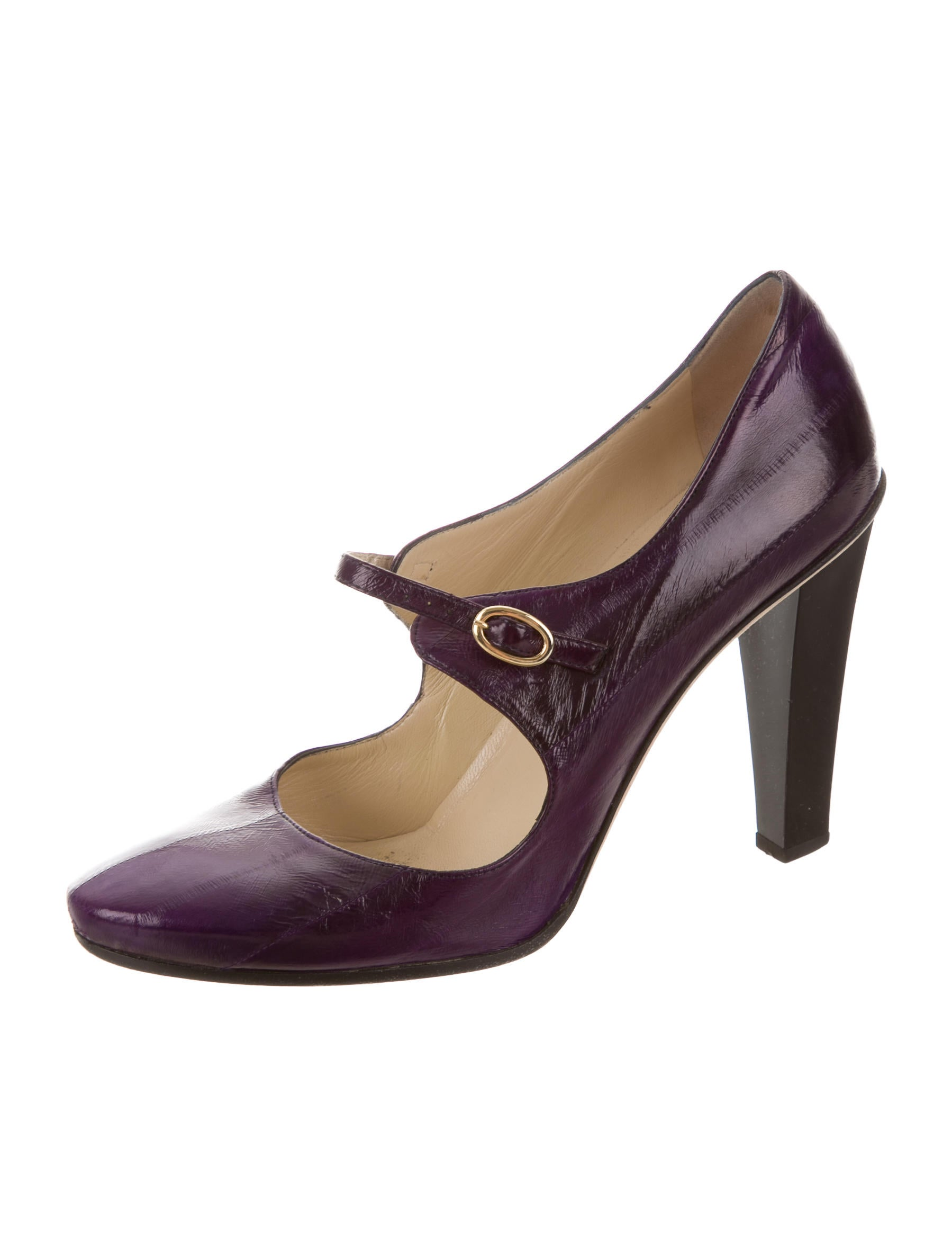 Purple And Black Eel Skin Shoes