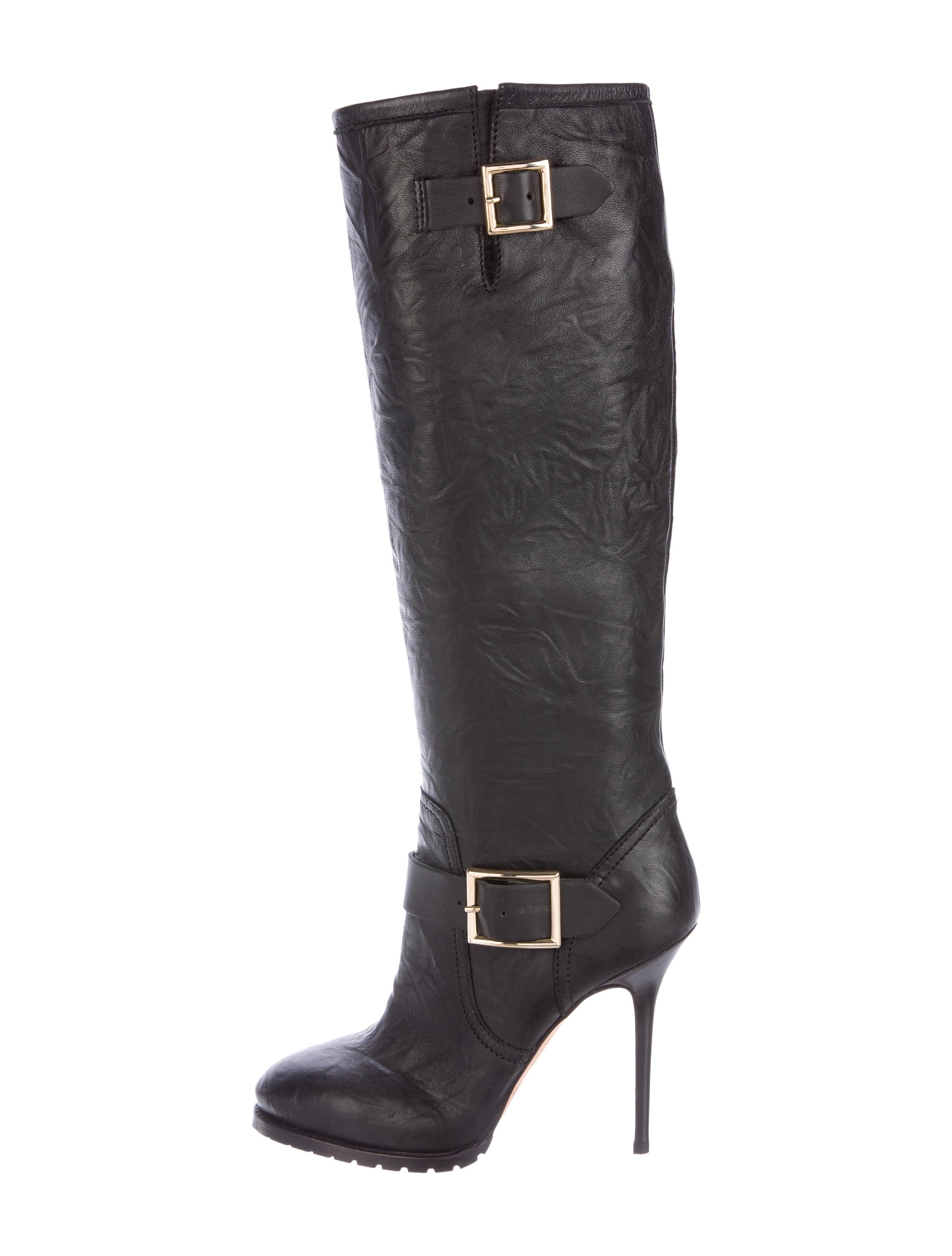 jimmy choo buckle accented knee high boots shoes