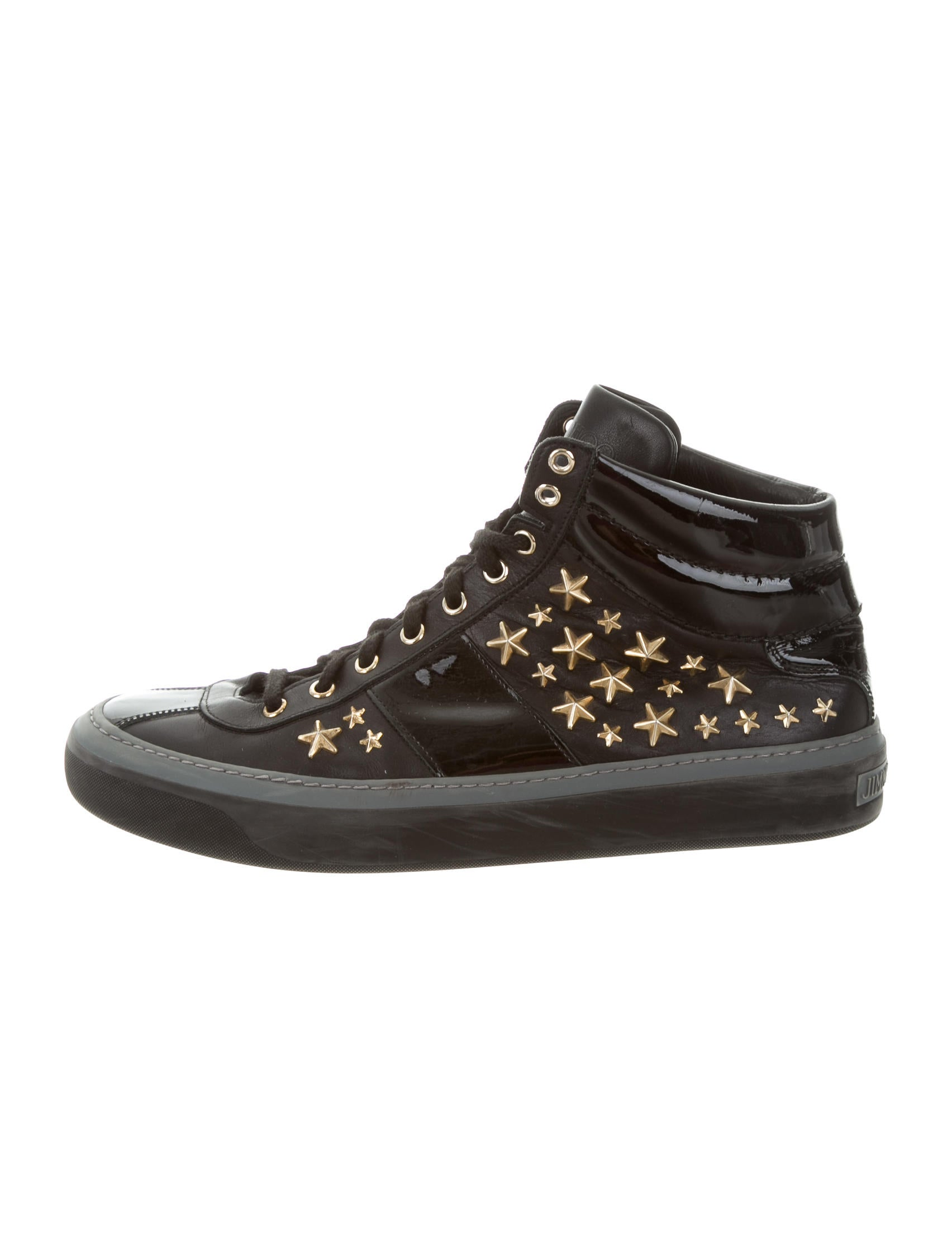 jimmy choo embellished leather sneakers shoes jim65731 the realreal. Black Bedroom Furniture Sets. Home Design Ideas