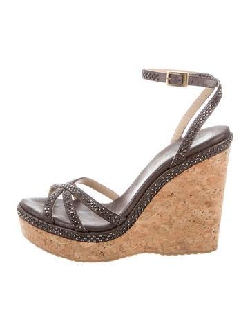 Jimmy Choo Embellished Wedge Sandals None
