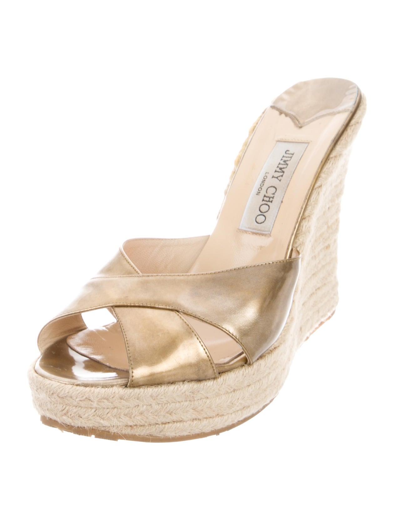 jimmy choo metallic wedge sandals shoes jim67532 the