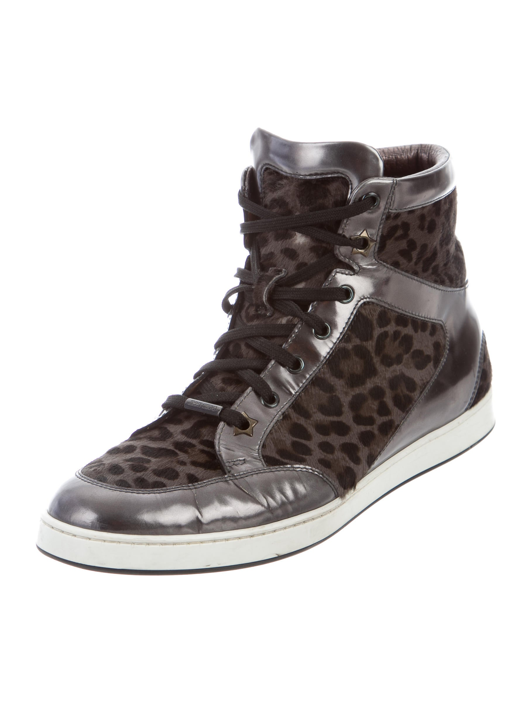 jimmy choo leopard high top sneakers shoes jim68017 the realreal. Black Bedroom Furniture Sets. Home Design Ideas