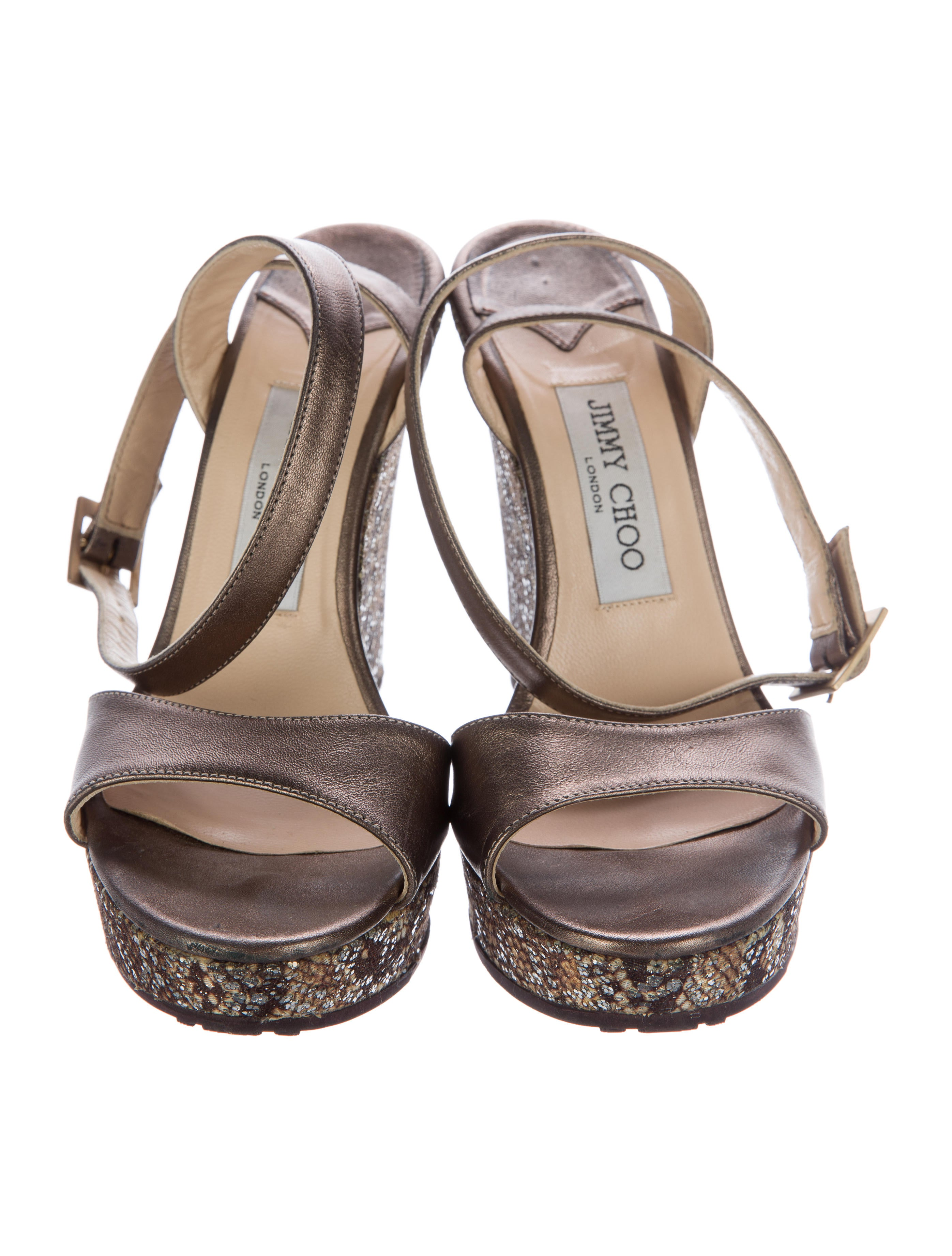 jimmy choo leather embellished wedges shoes jim69117