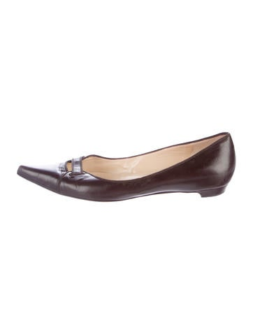Jimmy Choo Leather Pointed-Toe Flats None