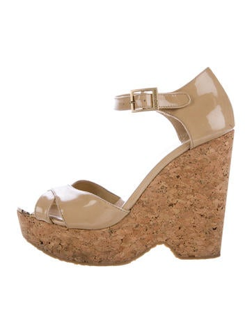 Jimmy Choo Patent Leather Platform Wedges None