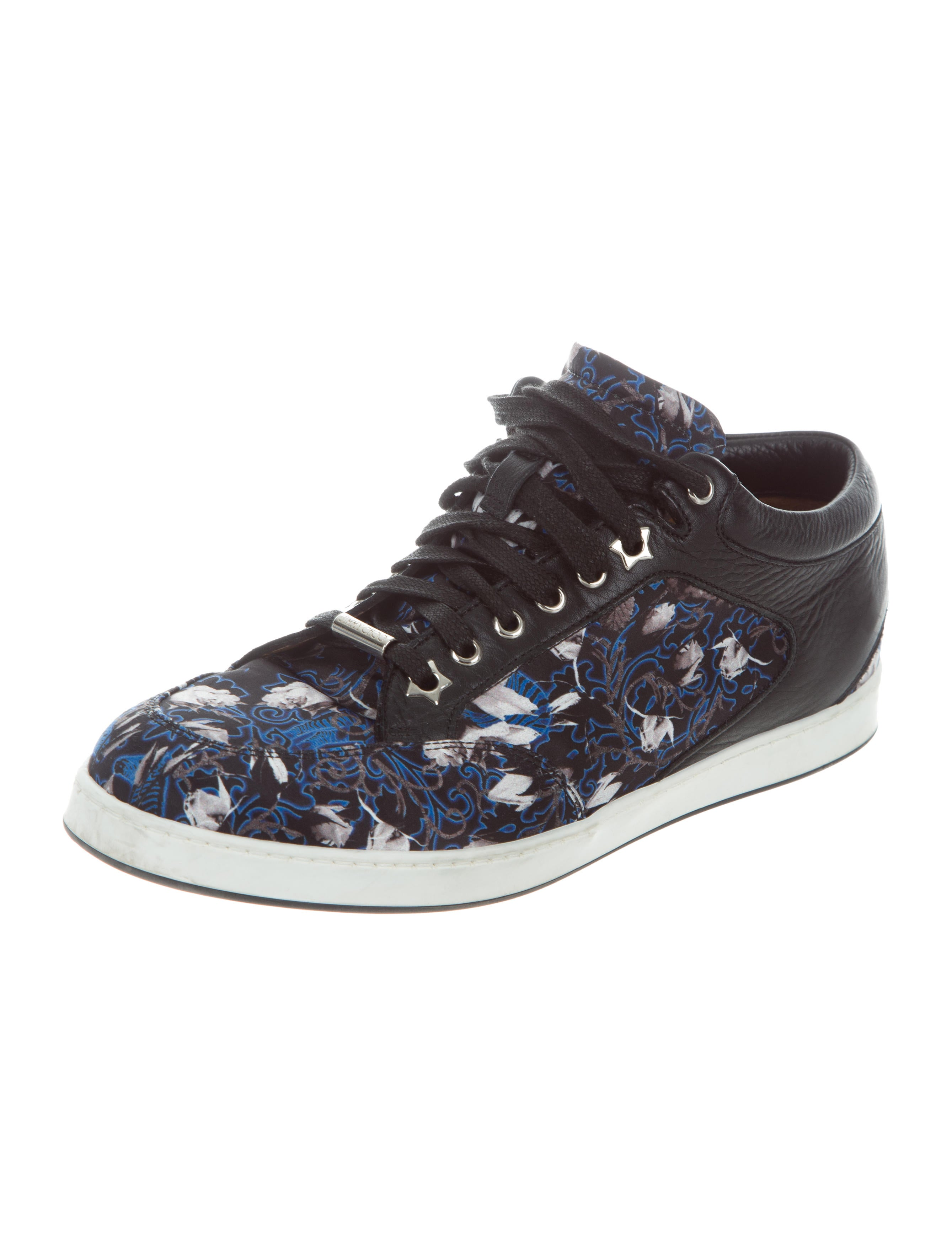 jimmy choo printed satin sneakers shoes jim70359 the realreal. Black Bedroom Furniture Sets. Home Design Ideas