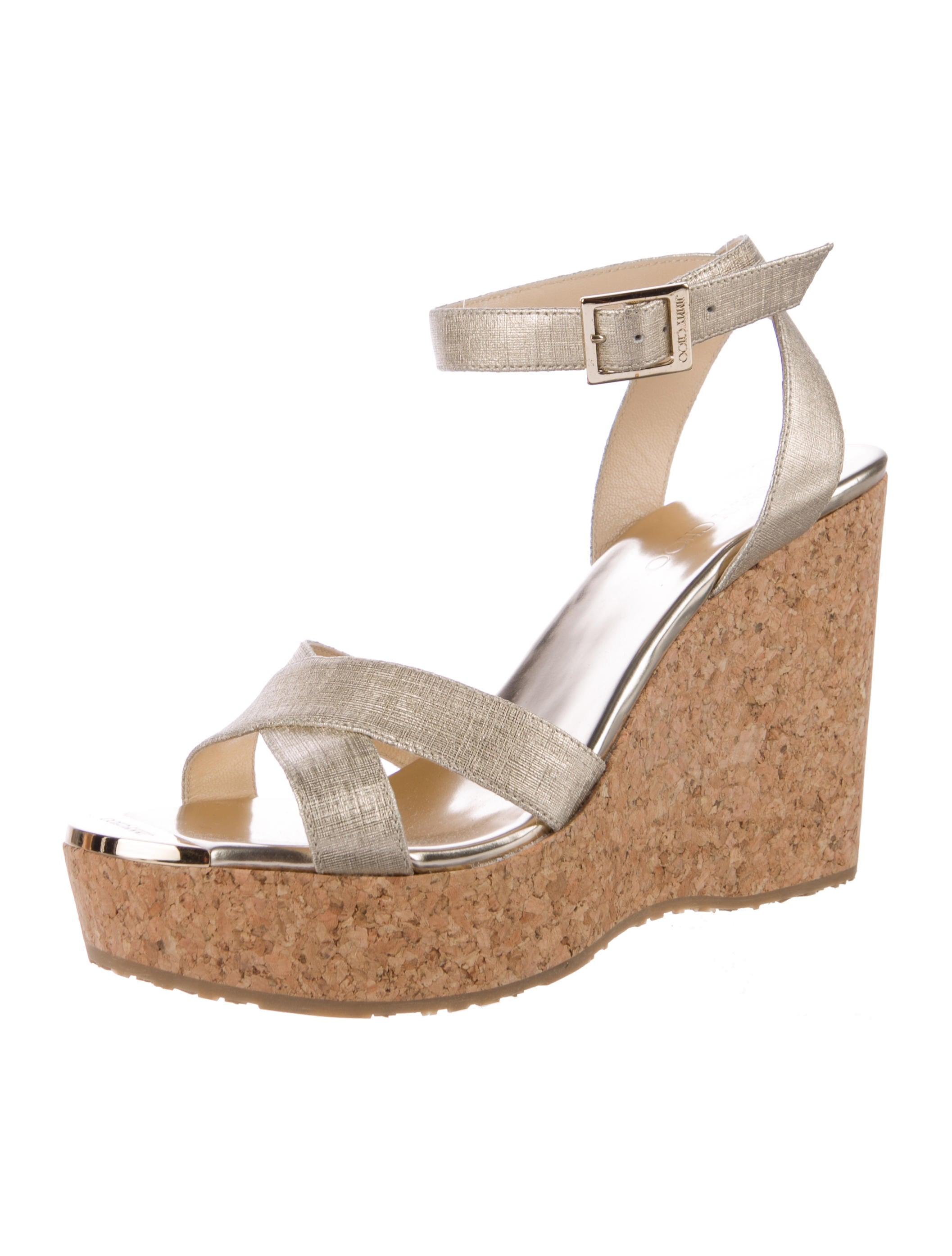 jimmy choo metallic platform wedges shoes jim71210