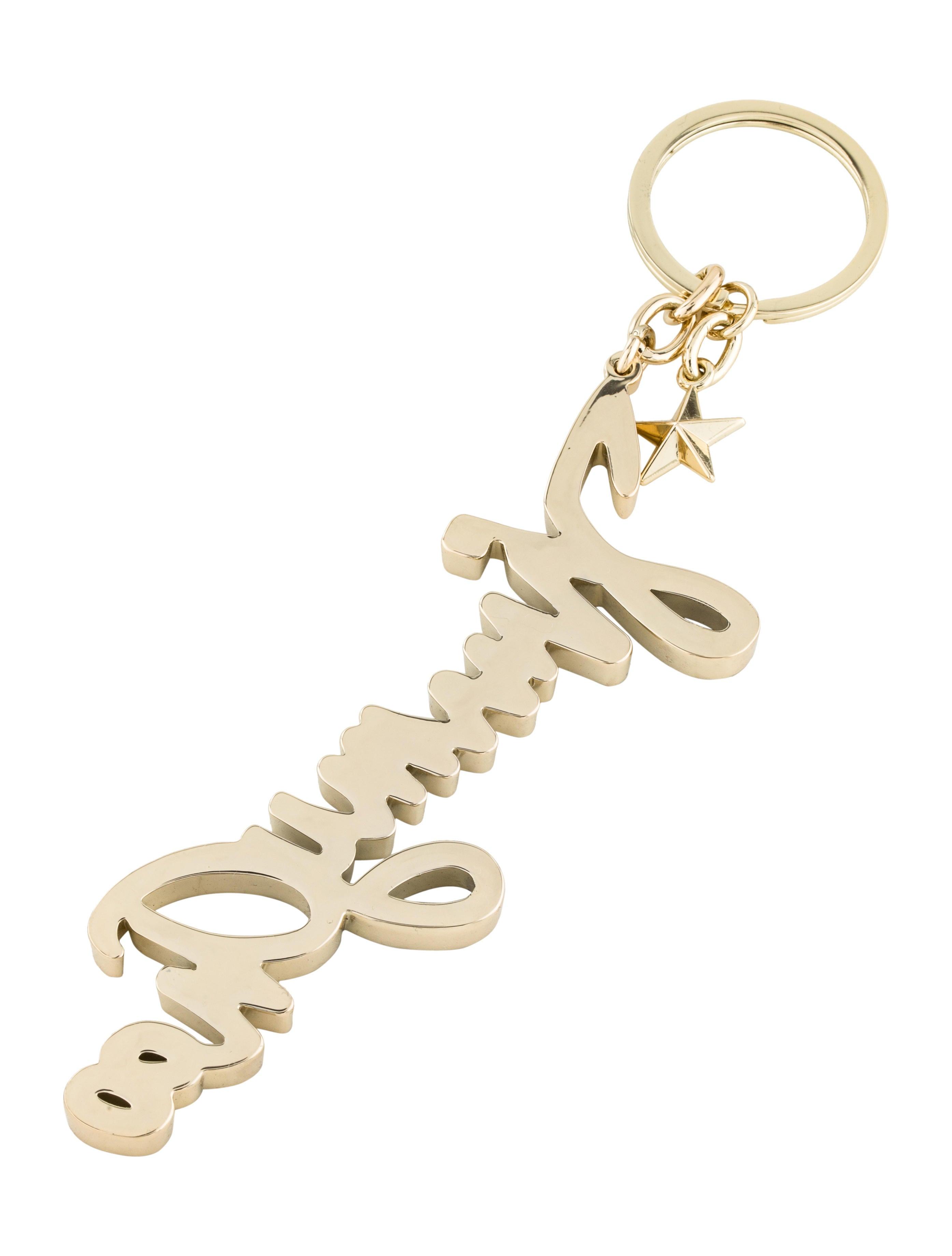 Jimmy Choo Logo Embellished Keychain