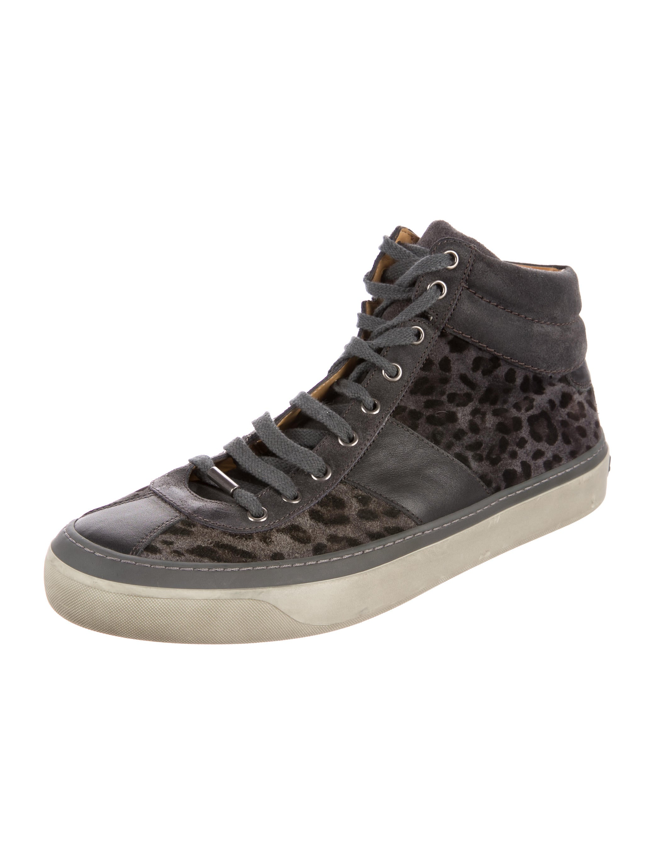 jimmy choo leopard print high top sneakers shoes jim72844 the realreal. Black Bedroom Furniture Sets. Home Design Ideas