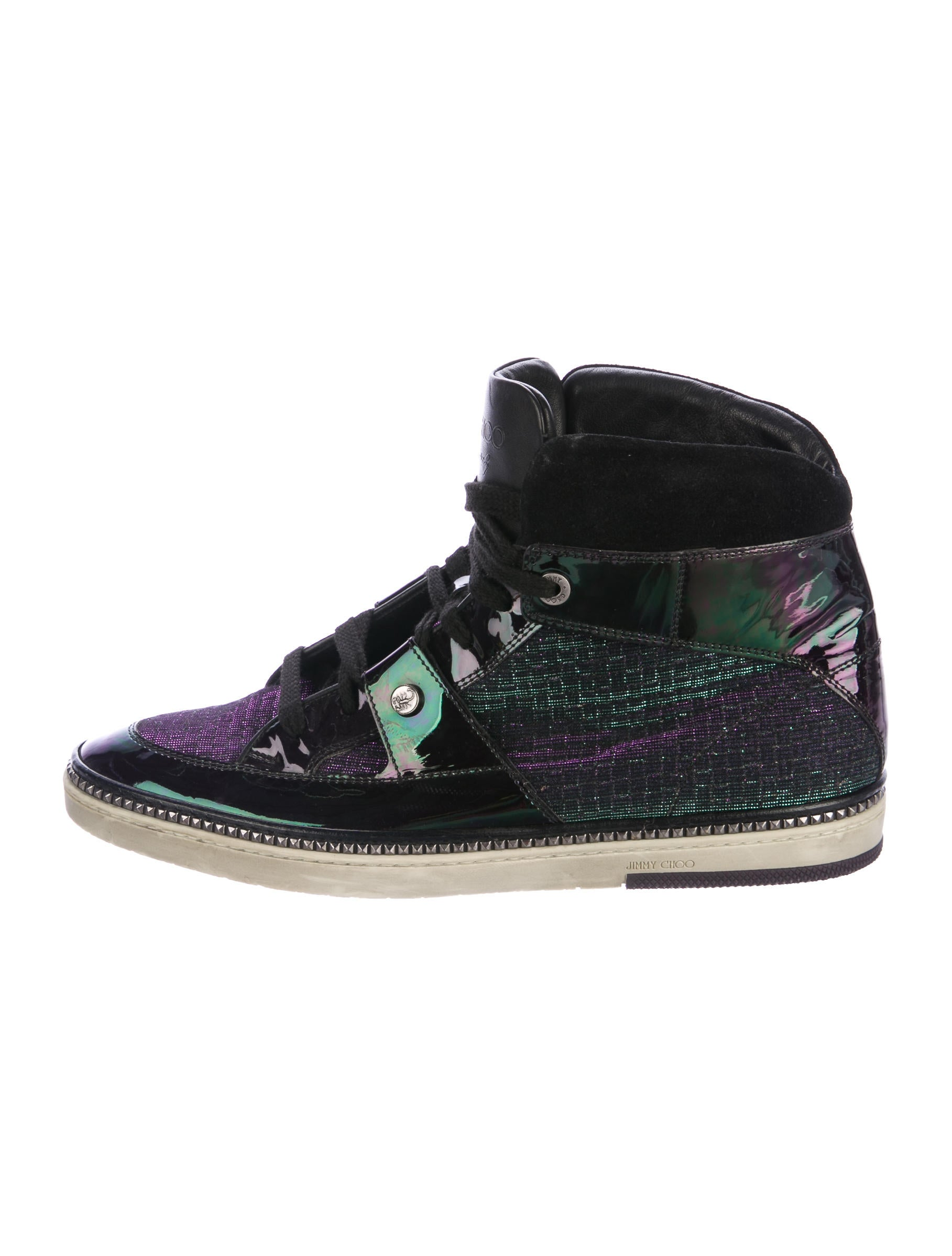 jimmy choo iridescent patent leather sneakers shoes jim73043 the realreal. Black Bedroom Furniture Sets. Home Design Ideas
