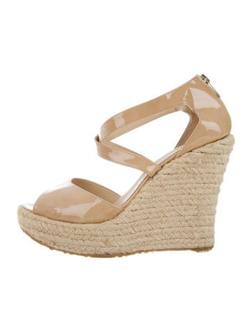 Jimmy Choo Patent Leather Crossover Wedges None