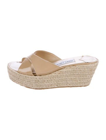 Jimmy Choo Patent Leather Crossover Espadrilles None