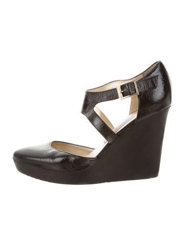 Jimmy Choo Patent Leather Wedges None