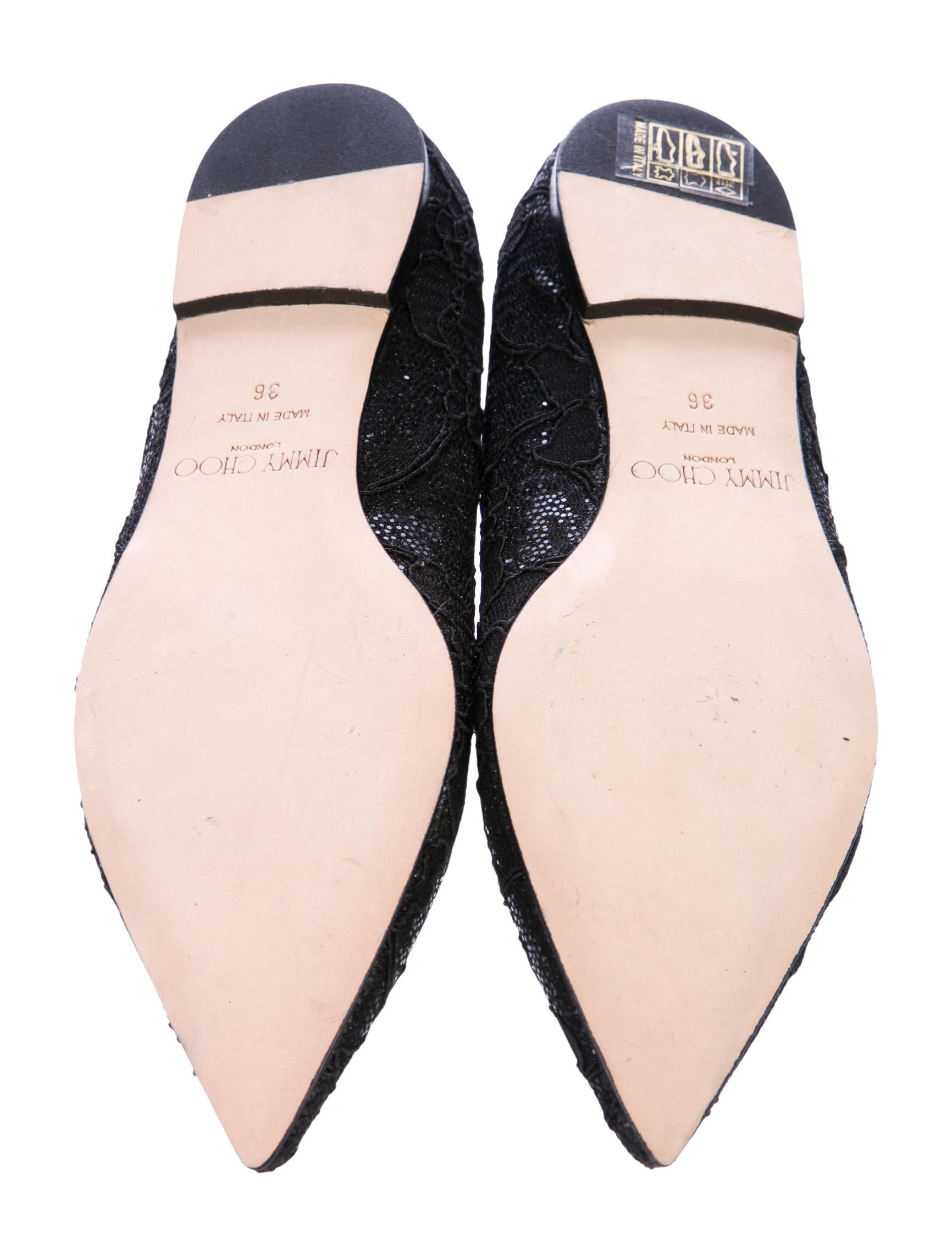 Jimmy Choo Glitter Pointed Toe Flats Shoes JIM75606  : JIM756065enlarged from www.therealreal.com size 1732 x 2285 jpeg 237kB