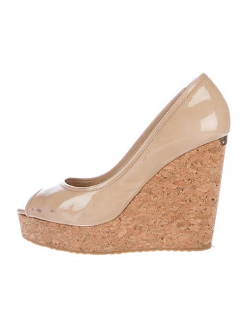Jimmy Choo Patent Leather Cork Wedges None