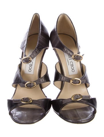 Jimmy Choo Eel Skin Buckle Accented Sandals pre order cheap online mALd3DS