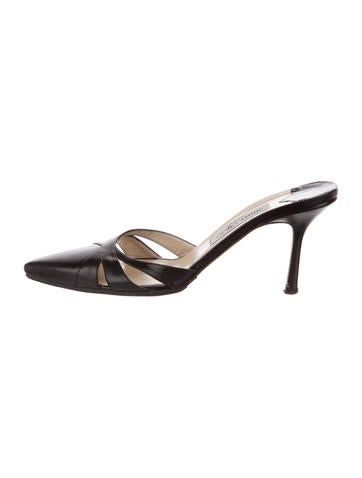 Jimmy Choo Leather Pointed-Toe Mules None