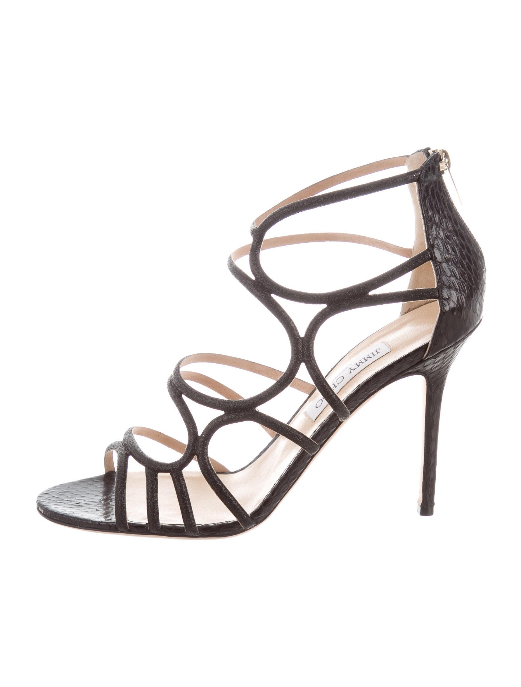 8d4e8cfddad7 Jimmy Choo Dory Snakeskin Cage Sandals - Shoes - JIM79348