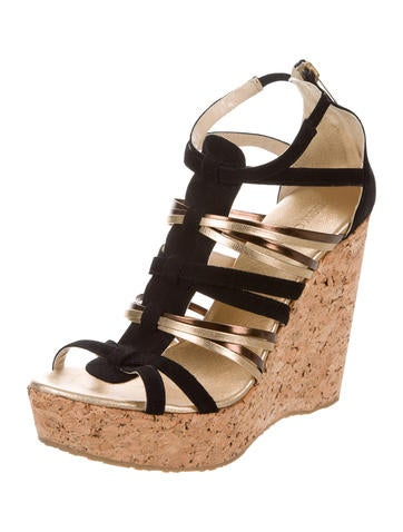 discount Cheapest outlet for cheap Jimmy Choo Multistrap Platform Wedges 20xp4
