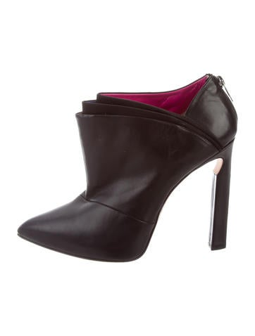 Jimmy Choo Leather Pointed-Toe Booties None