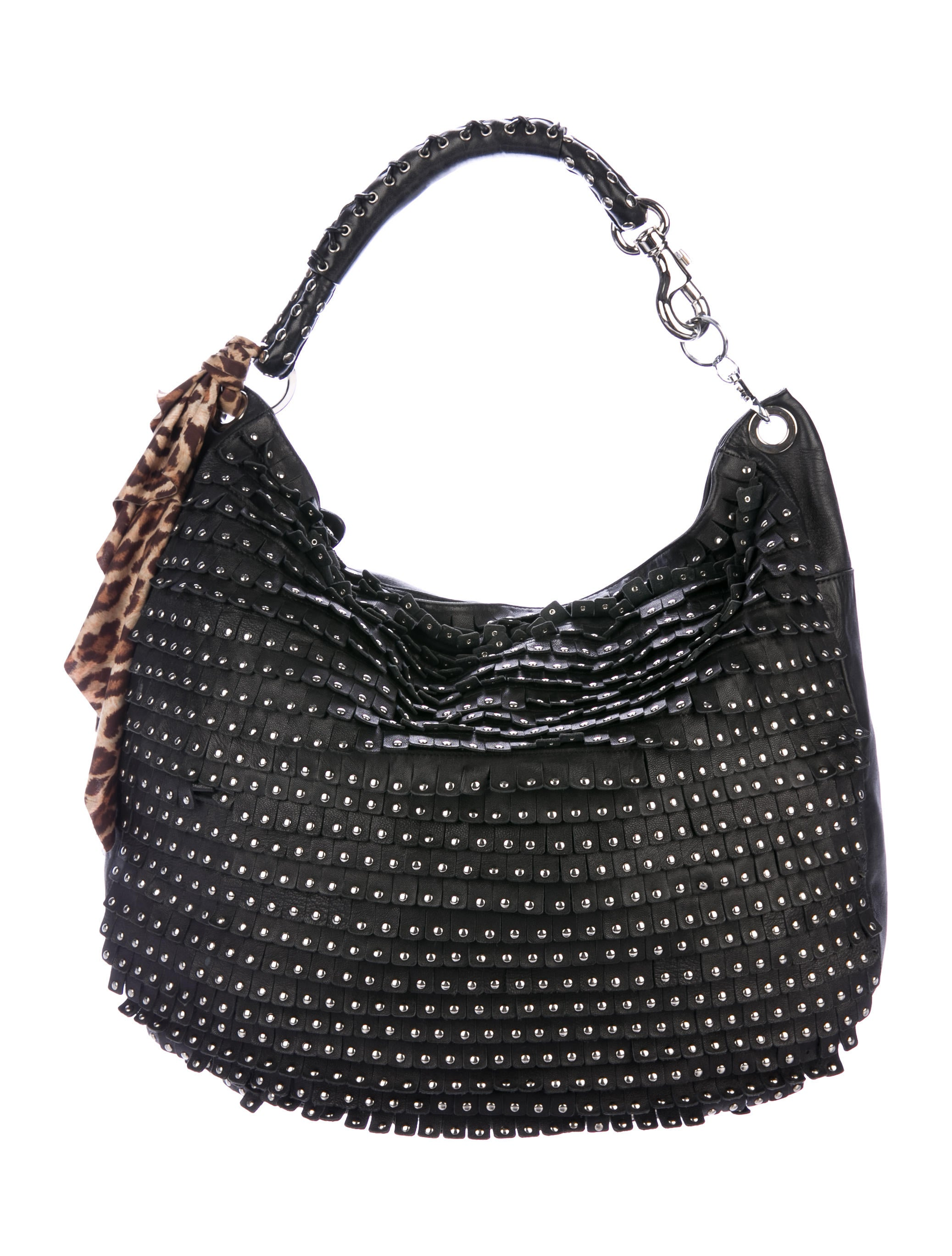 f9a4dcbdd5 Jimmy Choo Sky Studded Fringe Hobo - Handbags - JIM83351 | The RealReal