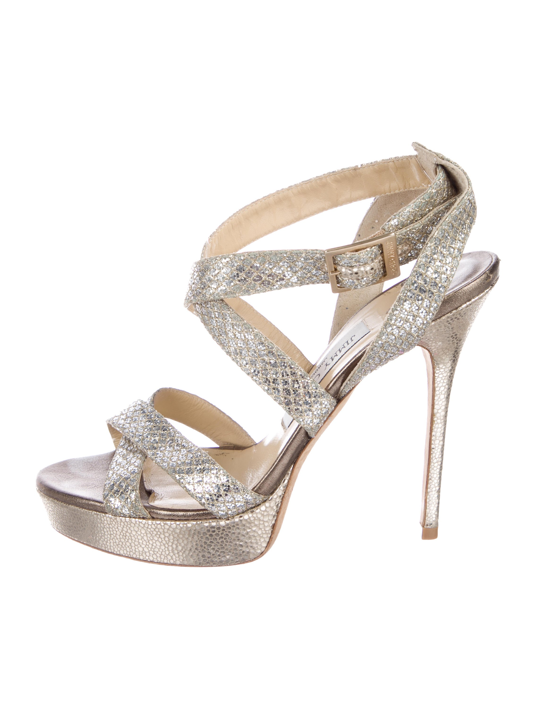 for sale cheap price from china buy cheap with mastercard Jimmy Choo Glitter Crossover Sandals discount deals outlet enjoy nT6P2tF