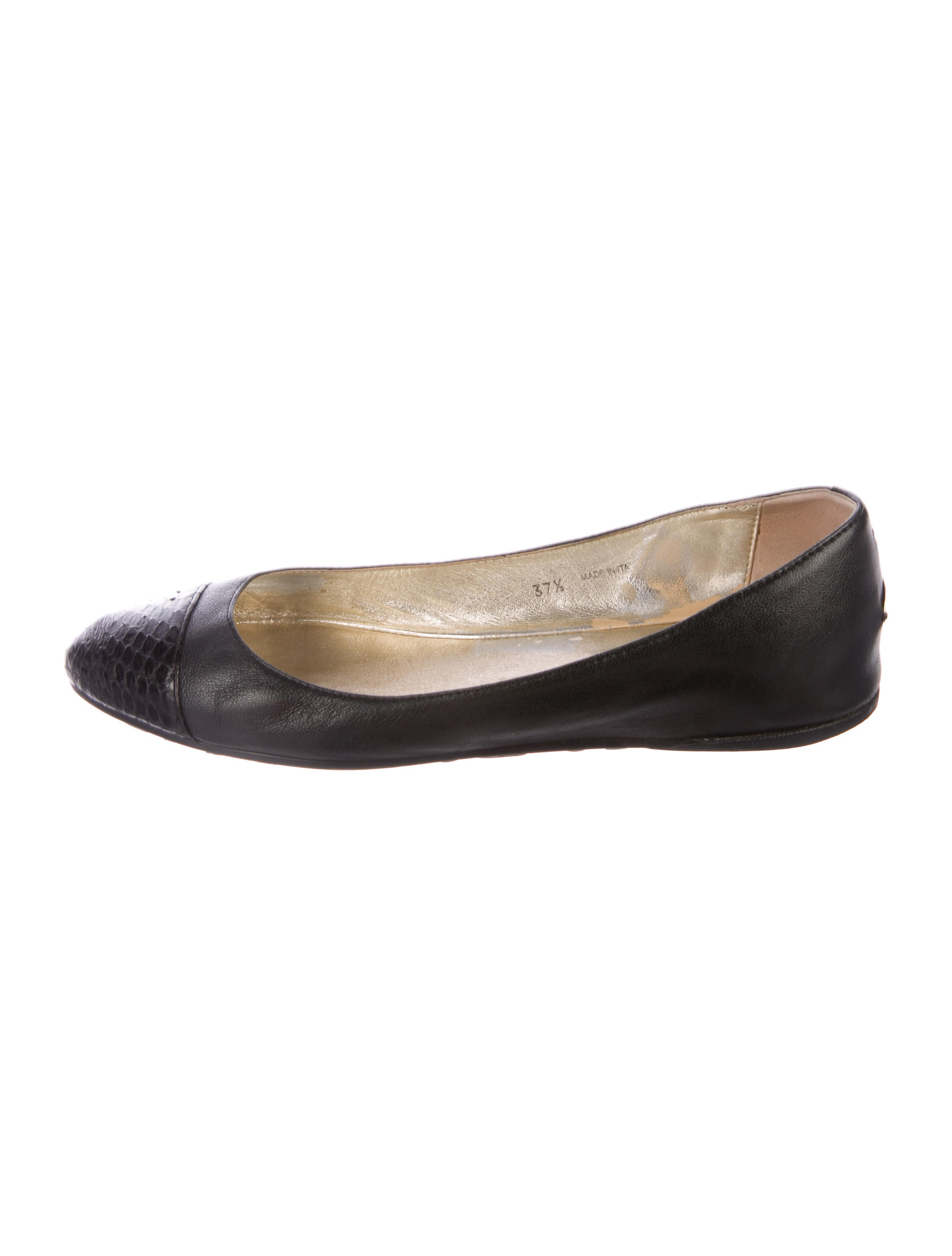 Jimmy Choo Leather Snakeskin-Accented Flats discount free shipping 2015 online sale low price fee shipping sale with mastercard top quality cheap price gV8SesHn2
