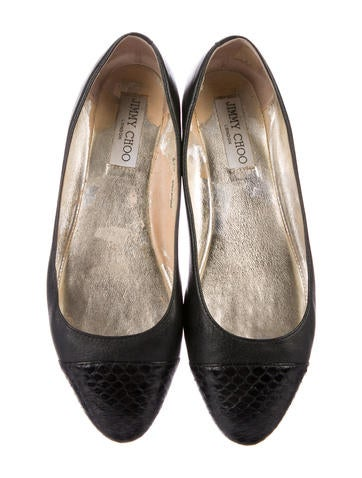 Leather Snakeskin-Accented Flats