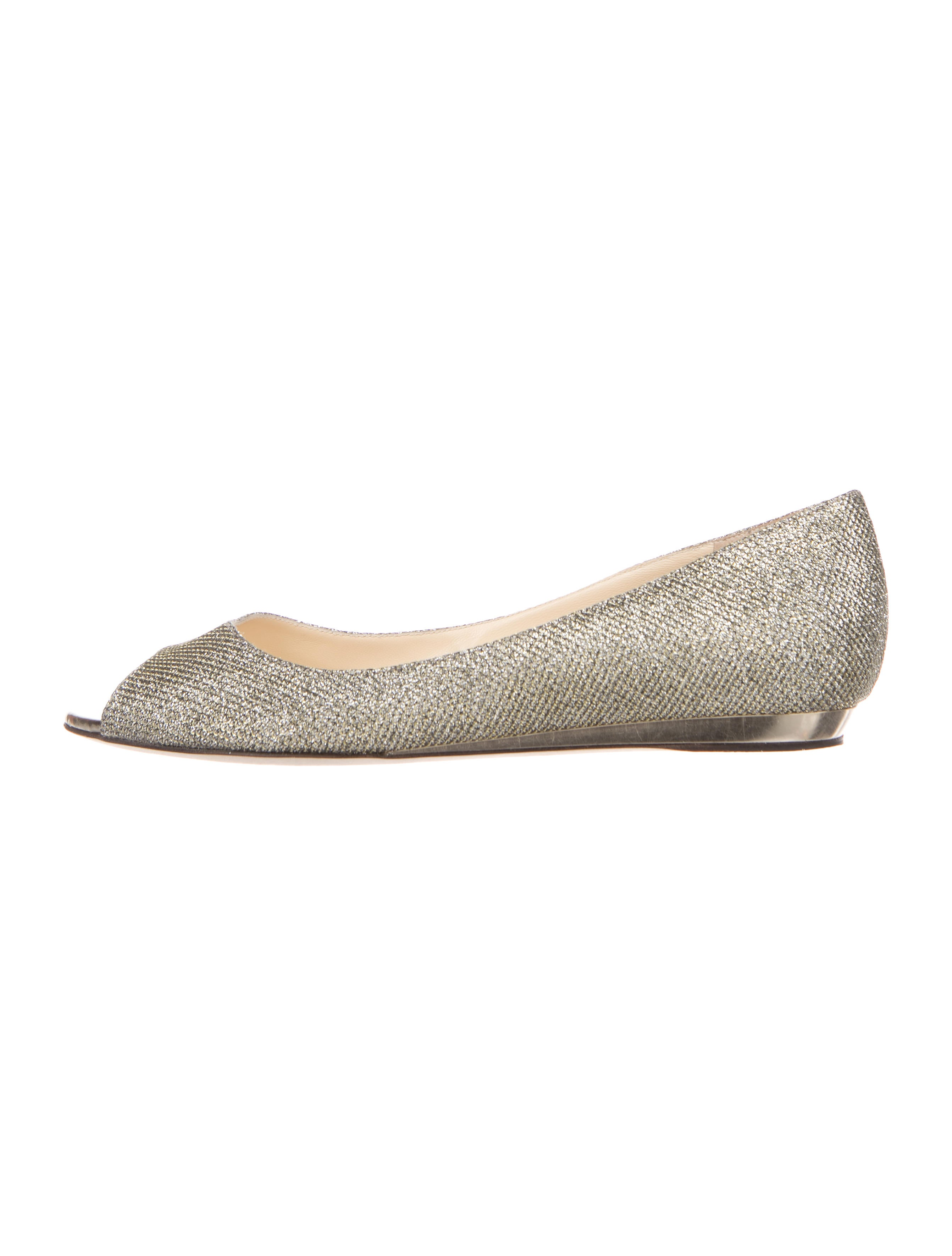 49bebfc258d4 Jimmy Choo Glitter Peep-Toe Flats - Shoes - JIM88138