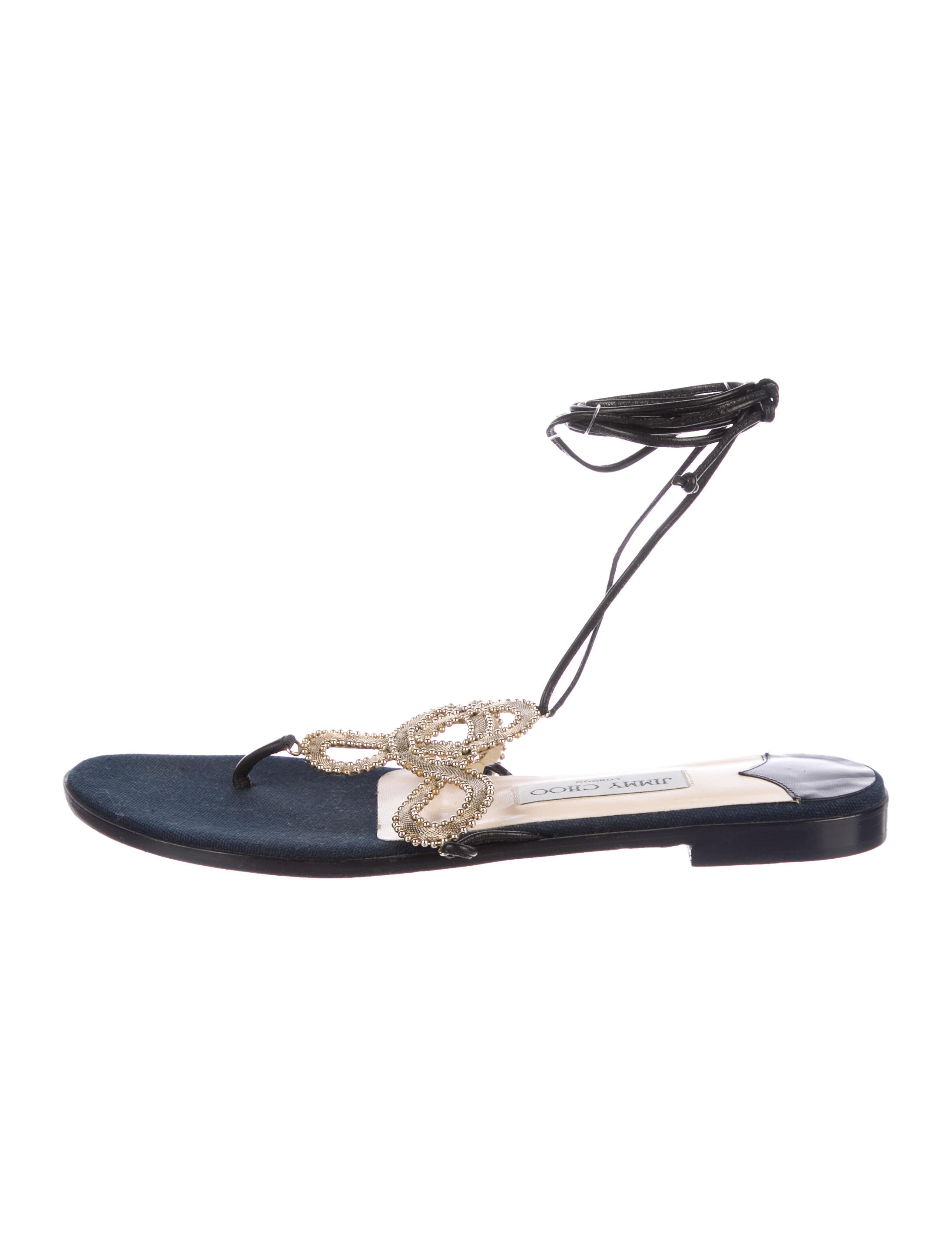 73058aad9fac93 Jimmy Choo Embellished Wrap-Around Sandals - Shoes - JIM96727