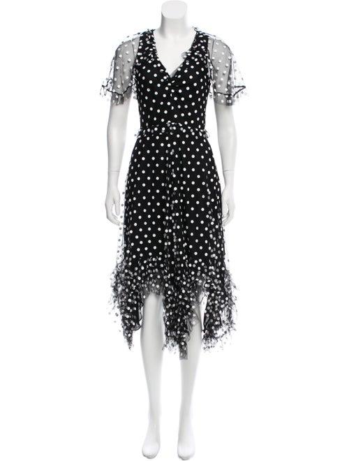 Jill Stuart Polka Dot Midi Dress Black