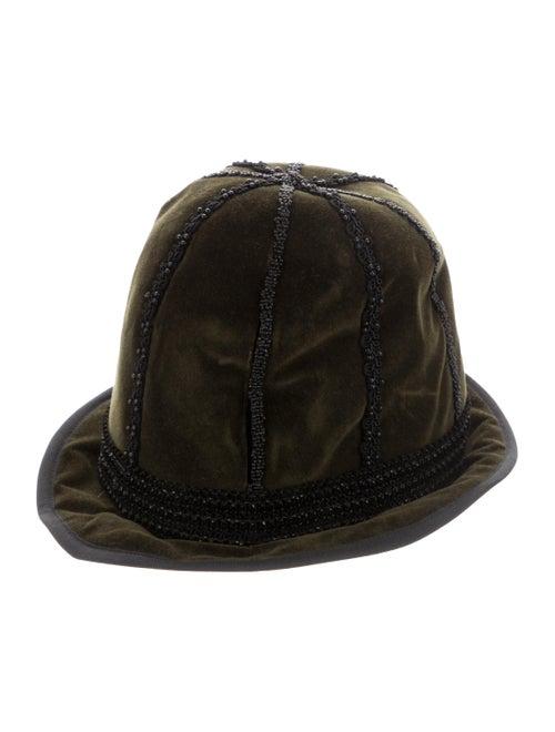 Jill Stuart Embroidered Velvet Hat green