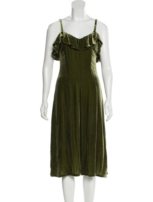 Jill Stuart Velvet Midi Dress green