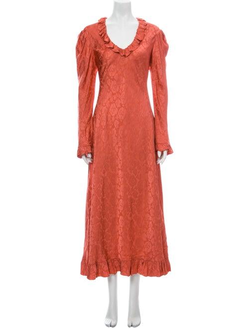 Jill Stuart V-Neck Midi Length Dress Pink
