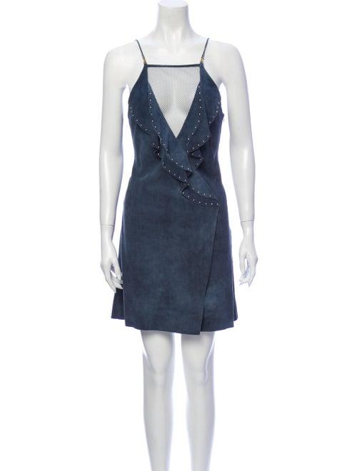 Jitrois Leather Mini Dress Blue
