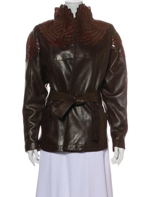 Jitrois Leather Biker Jacket Brown