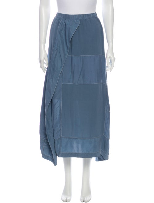 Jeremy Laing Silk Midi Length Skirt Blue