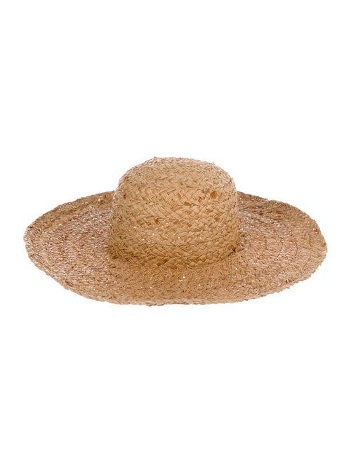 Janessa Leone Straw Wide-Brim Hat Tan