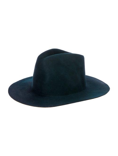 Janessa Leone Wool Fedora Hat Green