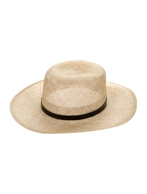 Janessa Leone Straw Wide Brim Hat Tan