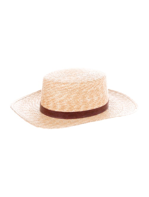 Janessa Leone Straw Wide Brim Hat Tan