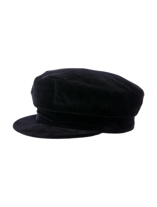 Janessa Leone Velvet Newsboy Hat Black