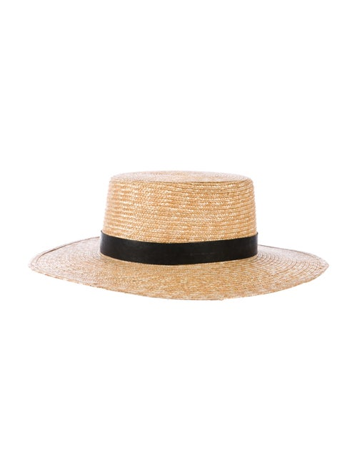 Janessa Leone Straw Wide-Brim Hat Tan